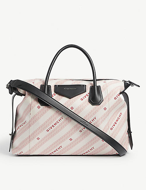 GIVENCHY: Antigona Soft medium leather and canvas tote bag