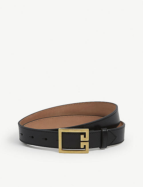 GIVENCHY: Double G logo-buckle leather belt