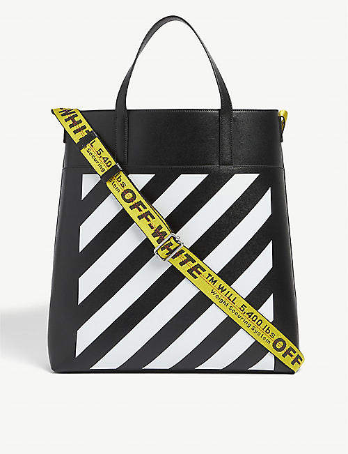 OFF-WHITE C/O VIRGIL ABLOH:条纹皮革托特包
