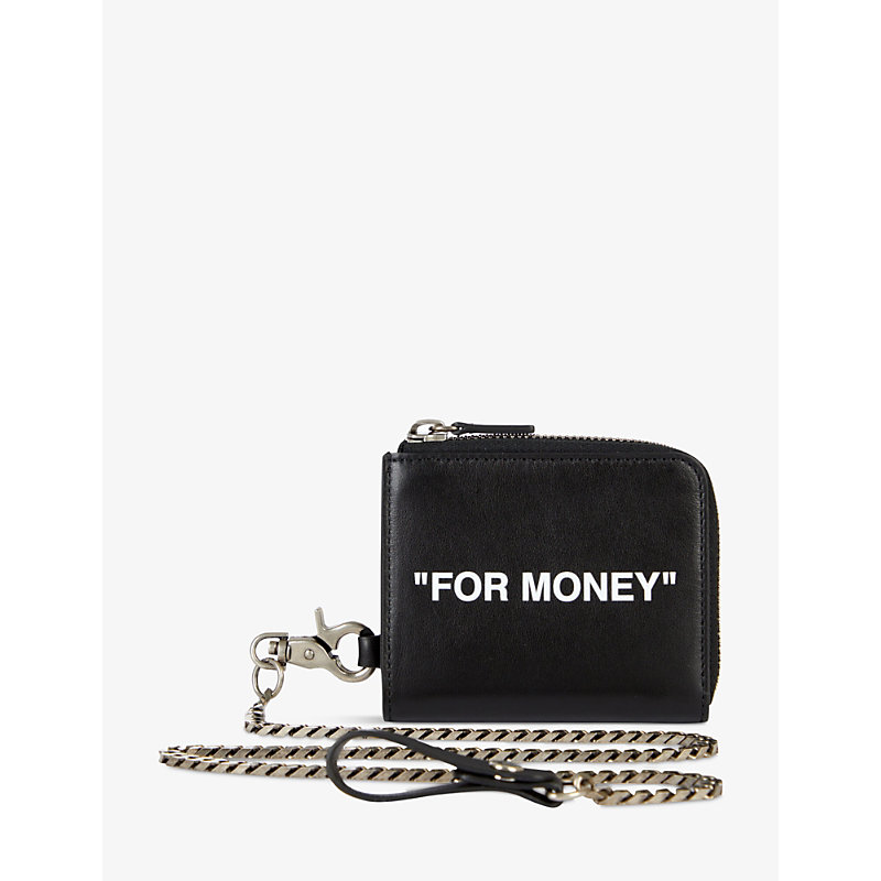 Off-White Wallets QUOTE-PRINT ZIPPED LEATHER WALLET-ON-CHAIN