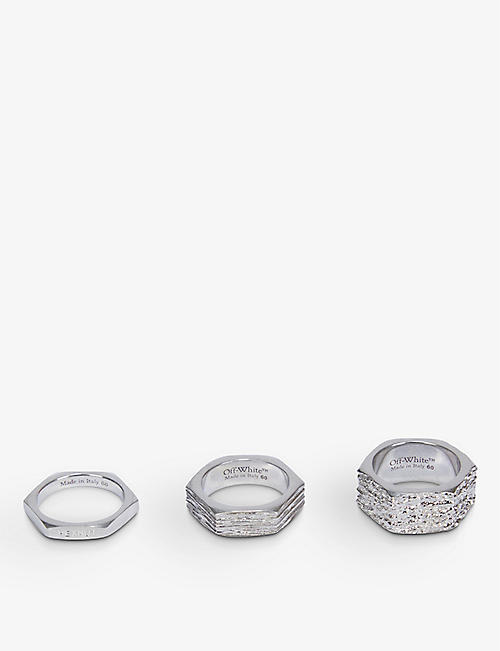 OFF-WHITE C/O VIRGIL ABLOH: Hexnut hexagon silver-toned rings set of three