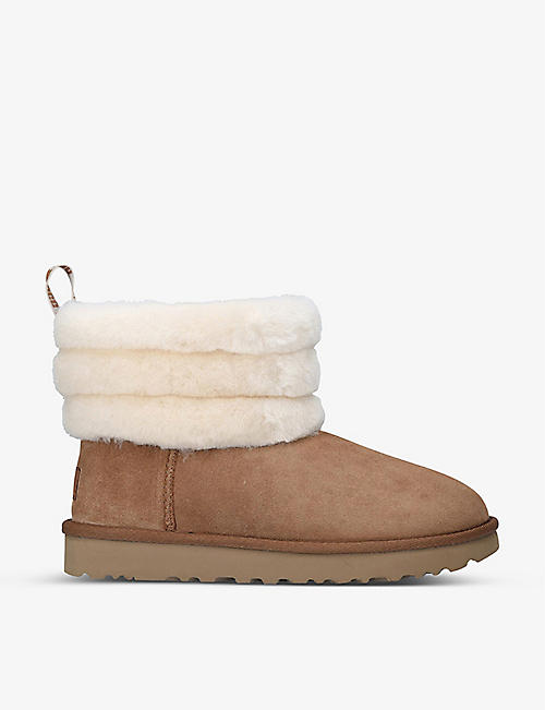UGG: Fluff Mini Quilted suede and sheepskin boots