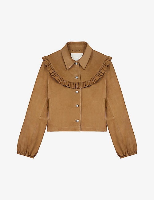 MAJE: Bendrie ruffle-trimmed suede jacket