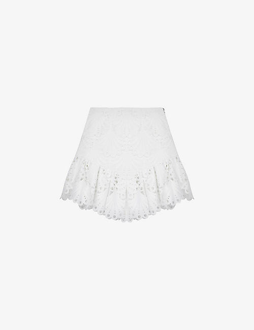 MAJE: Julie high-rise lace mini skirt