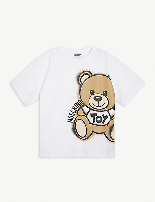 MOSCHINO: Bear logo-print cotton-blend t-shirt 4-14 years