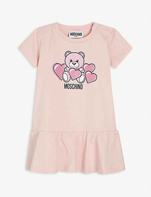 MOSCHINO: Teddy Bear hearts-print cotton-blend dress 3-36 months