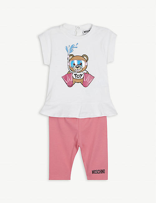 MOSCHINO: Bear branded stretch-cotton T-shirt set 3-36 months