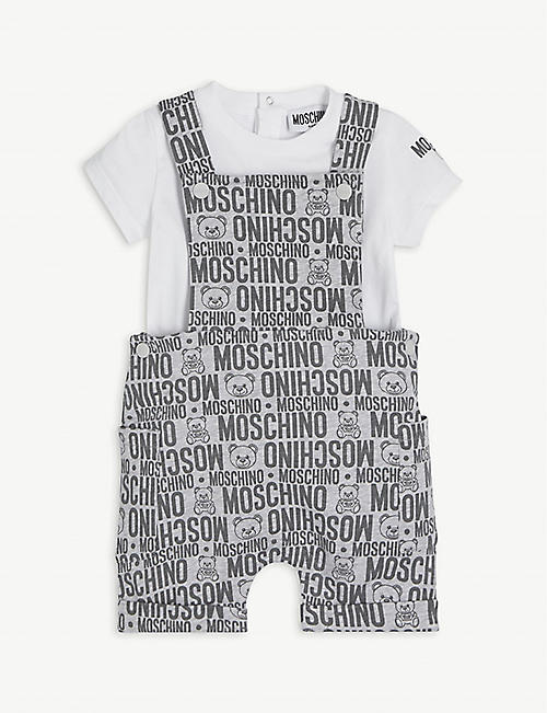MOSCHINO: Logo-print cotton T-shirt and dungarees set 3-36 months