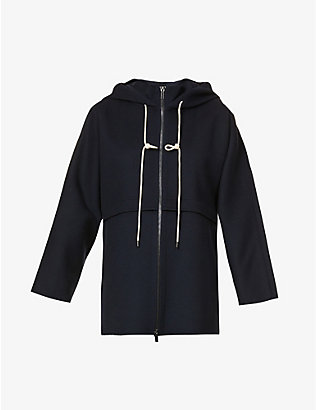 S MAX MARA: Drawstring-hood relaxed-fit wool jacket