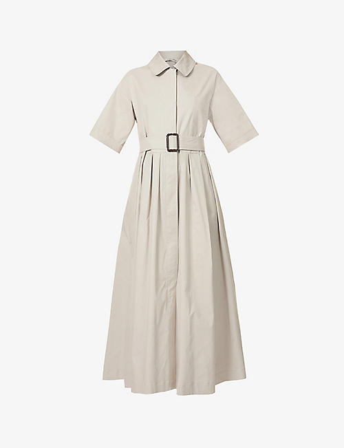 S MAX MARA: Sasia tie-belt stretch-cotton midi dress