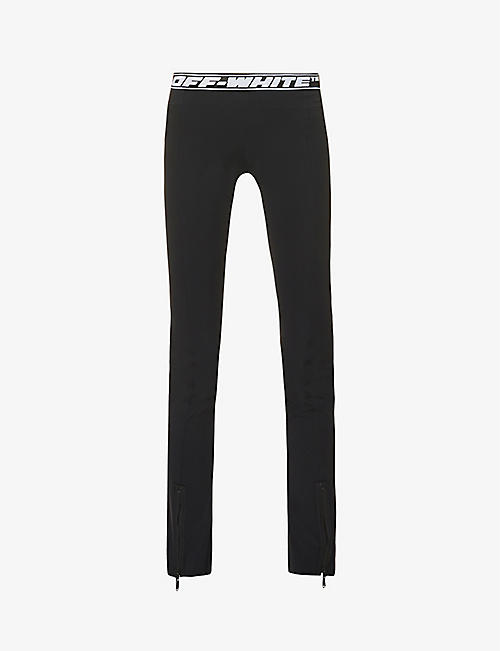 OFF-WHITE C/O VIRGIL ABLOH: Athleisure split cuffs stretch-jersey leggings