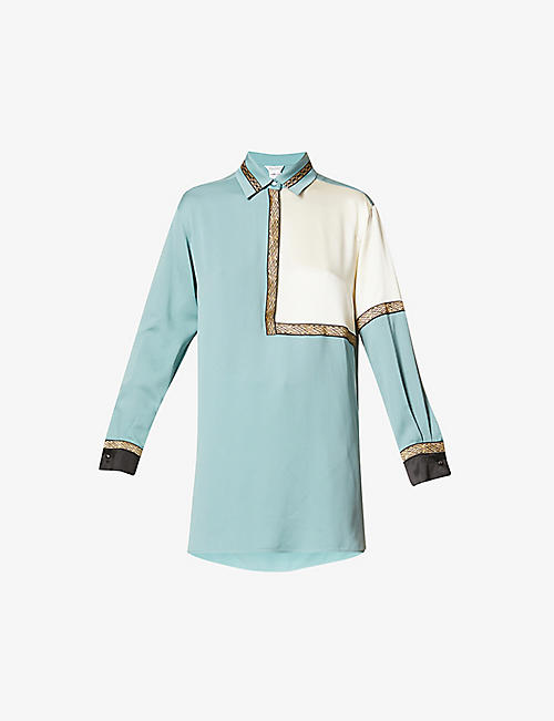 MAX MARA: Metallic-trimmed silk-crepe shirt