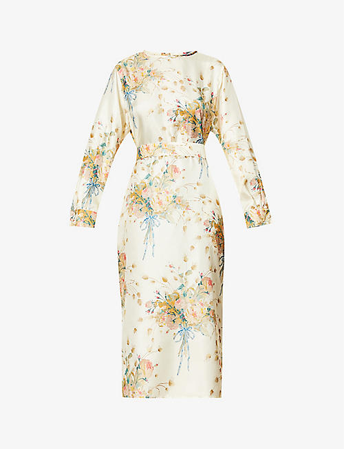MAX MARA: Mirko floral-print silk-twill midi dress
