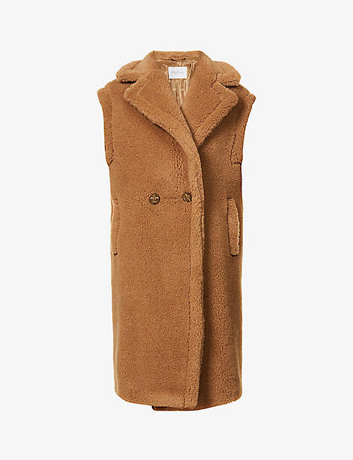 MAX MARA: Alce camel and silk-blend gilet