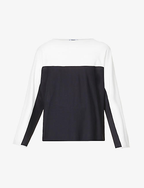 MAX MARA: Muschio colour-block stretch-knit jumper