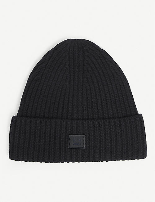 ACNE STUDIOS: Embroidered-face wool beanie hat