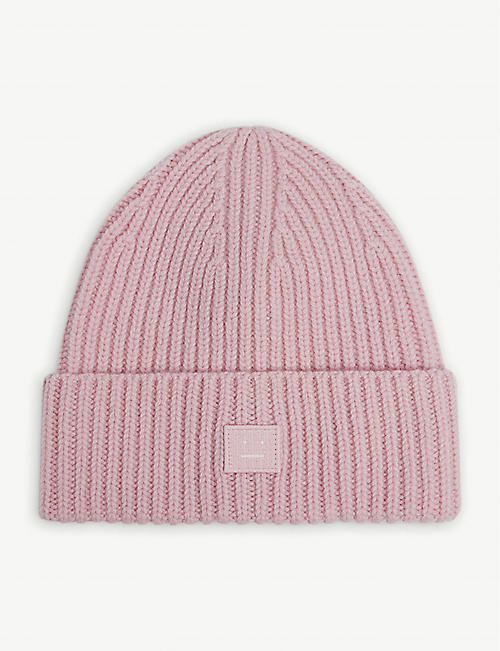 ACNE STUDIOS: Embroidered-face wool beanie hat 8-10 years