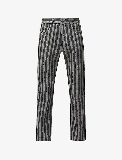 KENZO: Striped straight jeans