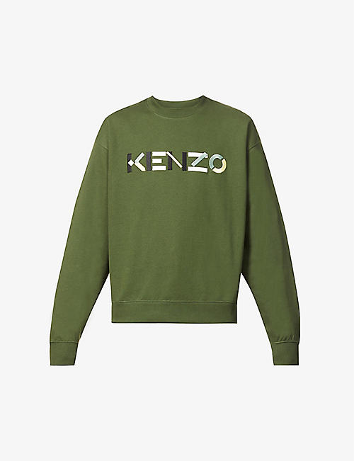 KENZO: Brand-embroidered crewneck cotton-jersey sweatshirt