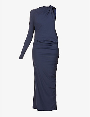 SPORTMAX: Bosco draped stretch-jersey midi dress