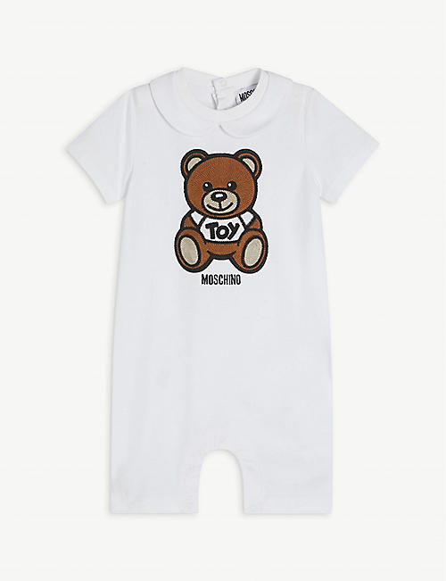 MOSCHINO: Teddy Bear-appliqué stretch-cotton romper 1-12 months