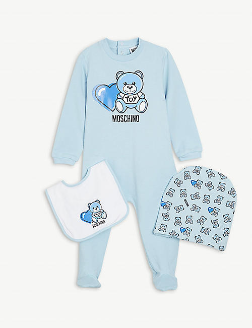 MOSCHINO: Logo-print cotton baby set 1-12 months