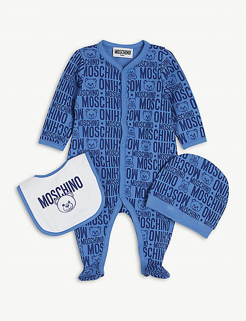 MOSCHINO: Bear graphic-print cotton babygrow set 1-9 months