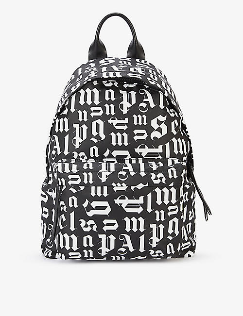 PALM ANGELS: Monogram-print shell and leather backpack