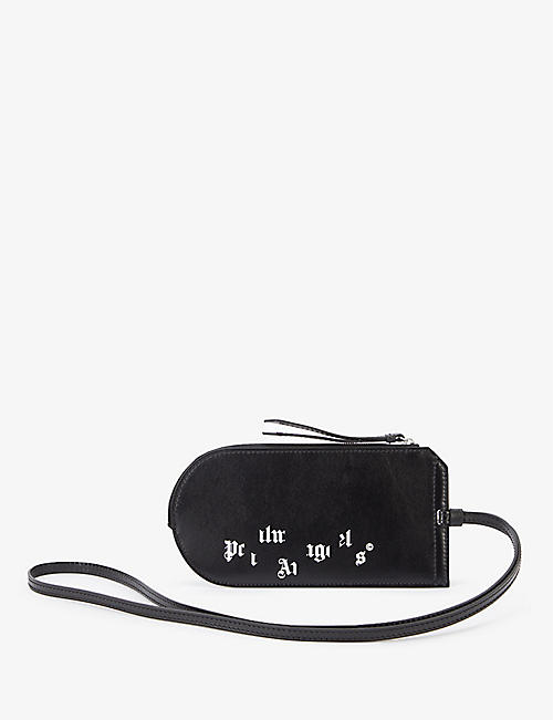 PALM ANGELS: Logo-print leather neck pouch