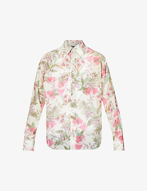 TOM FORD: Floral-print relaxed-fit woven shirt
