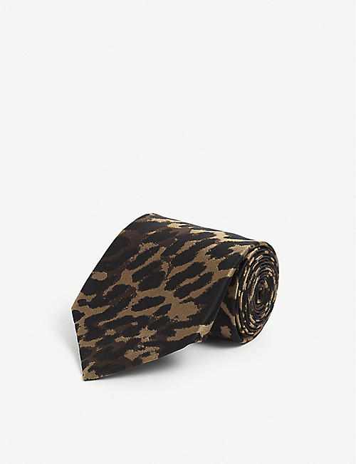 TOM FORD: Leopard-jacquard silk tie