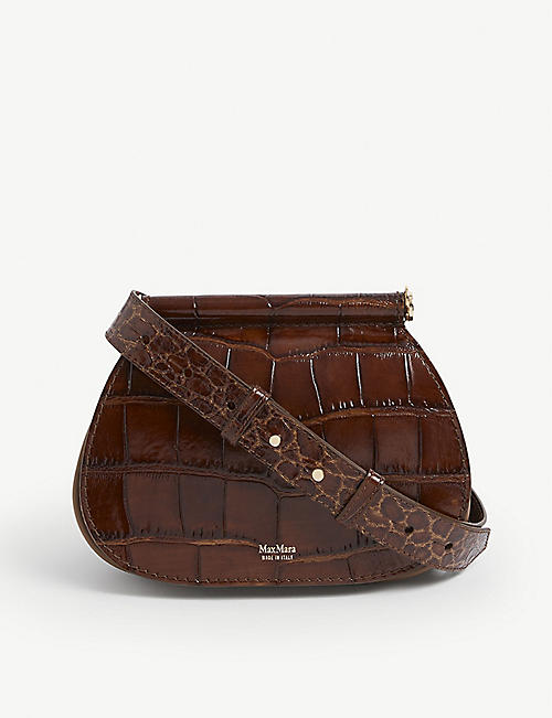 MAX MARA: Sylvia croc-embossed leather cross-body bag