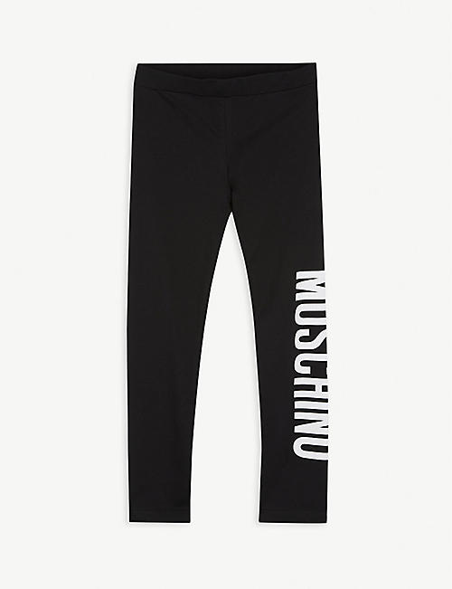 MOSCHINO: Logo-print cotton-blend leggings 4-14 years