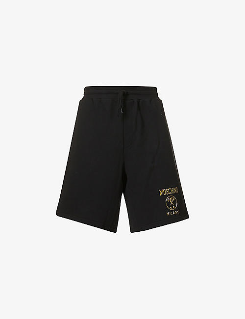MOSCHINO: Brand appliqué cotton-jersey shorts