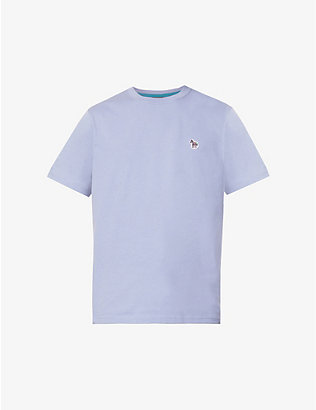 PS BY PAUL SMITH: Zebra-embroidered organic cotton-jersey T-shirt