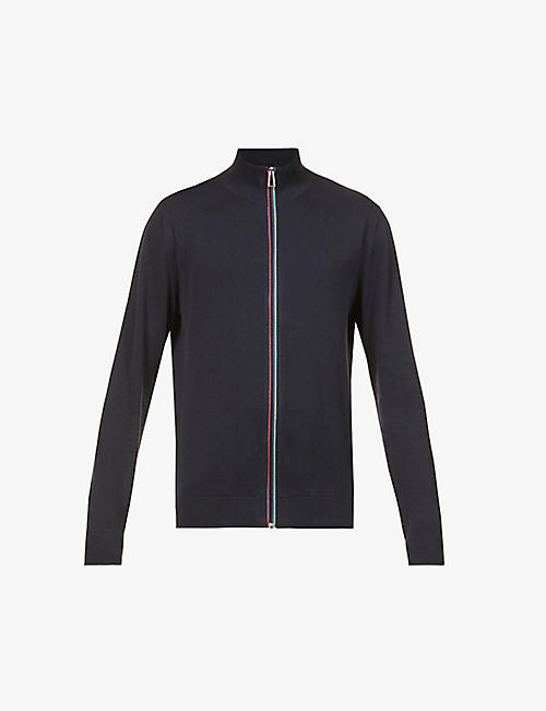 PS BY PAUL SMITH: Sports Stripe zip-up cotton-knit cardigan