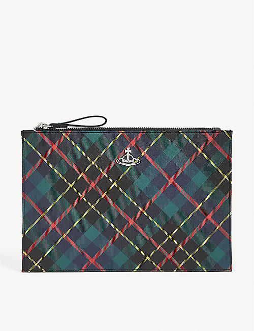VIVIENNE WESTWOOD: Derby tartan coated-canvas pouch
