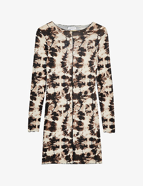 TOPSHOP: Tie-dye cotton-blend mini dress