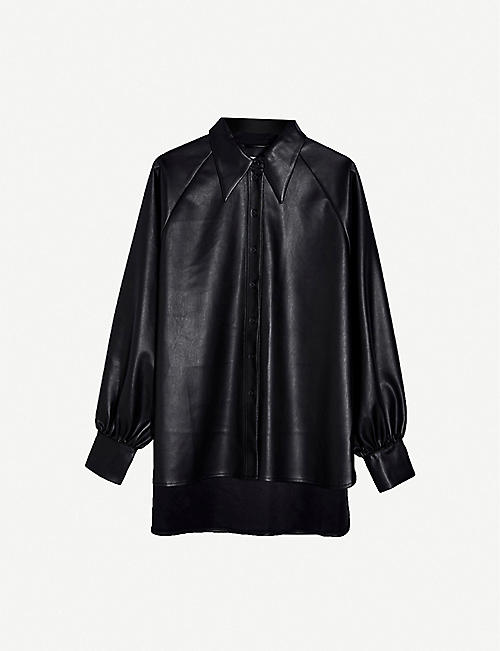 TOPSHOP: Relaxed-fit faux-leather shirt