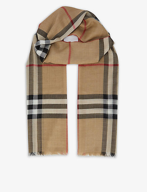 BURBERRY: Giant checked wool-silk scarf