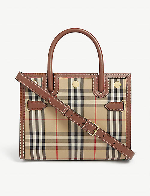 BURBERRY: Title checked mini top handle bag