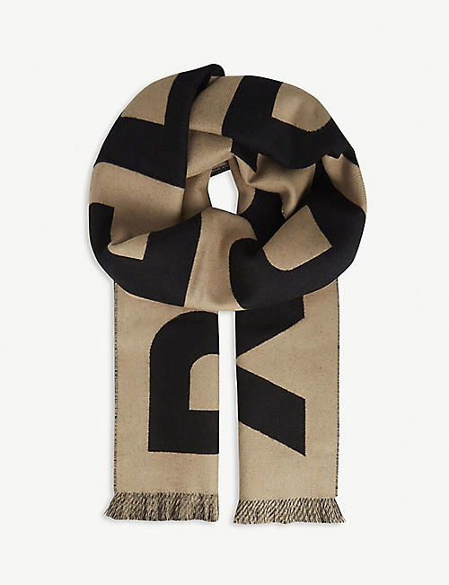 BURBERRY: Logo-pattern wool football scarf