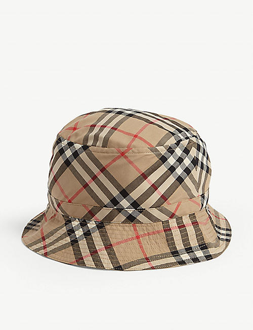 BURBERRY: Kids Chandy vintage checked cotton bucket hat 4-14 years