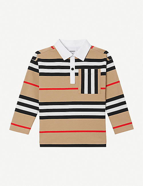 BURBERRY: Cuthbert long-sleeved striped cotton top 3-14 years