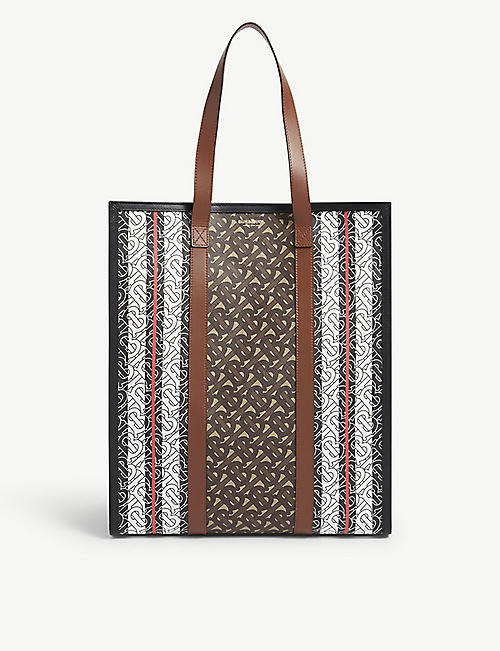 BURBERRY: TB monogram striped e-canvas tote bag