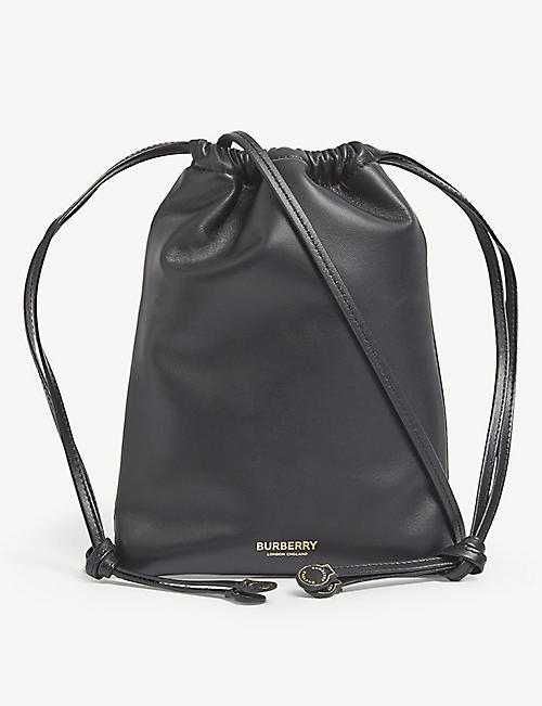 BURBERRY: Logo-print leather cross-body bag