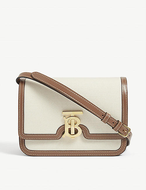 BURBERRY: TB canvas and leather cross-body bag