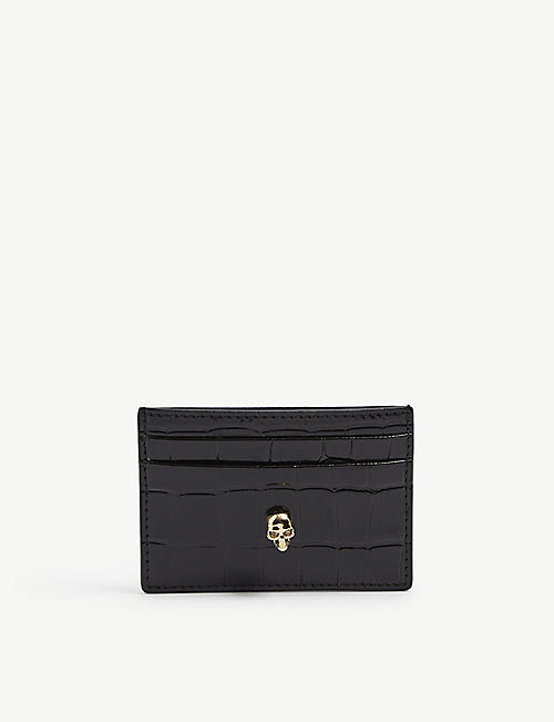 ALEXANDER MCQUEEN: Classic skull leather card holder