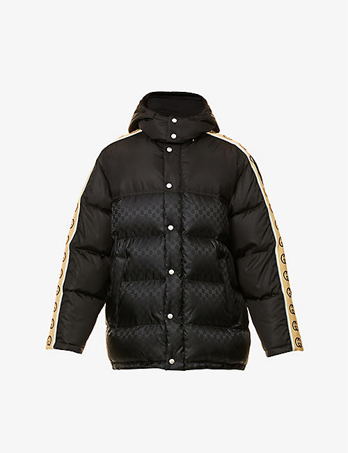 GUCCI: Brand-print padded shell-down hooded jacket