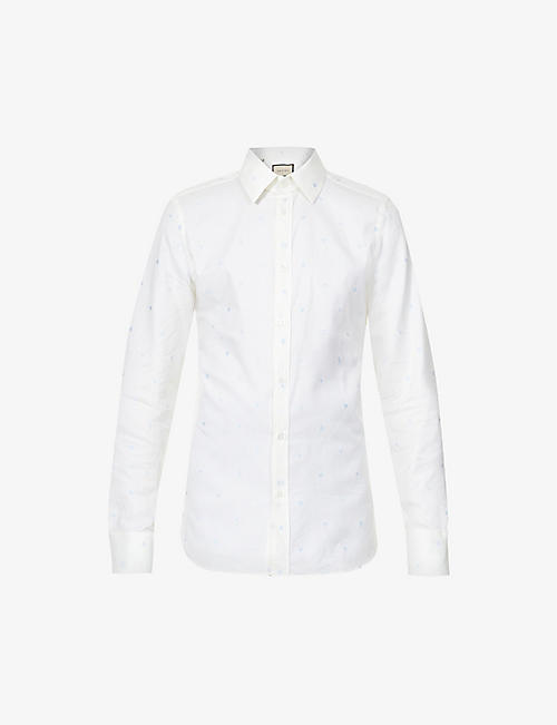 GUCCI: Graphic-pattern cotton-twill Oxford shirt